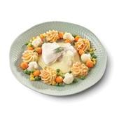 Culivers (1) Zacht gegaarde schol- en victoriabaarsfilet in botersaus, een groentemix van bloemkool, parijse wortel, tuinerwten en maïs, en aardappelpuree met zongedroogde tomaat  voorkant