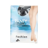 Foot-Leg panty lichtglanzend zwart maat 40-44, 15 denier voorkant