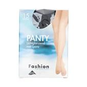Foot-Leg panty lichtglanzend zwart maat 44-48, 15 denier voorkant