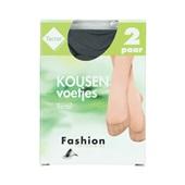 Fashion kousenvoetjes 2 tactel zwart maat 39-42 voorkant