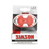 Simson Achterlicht 5xLed rood incl. houder en batterijen voorkant