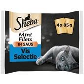 Sheba mini filets kattenvoer visselectie in saus voorkant
