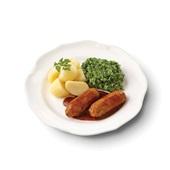 Culivers (10) kalfssaucijsjes met honing-mosterdsaus, andijvie à la crème en gekookte aardappelen  voorkant