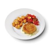 Culivers (50) visburger met preisaus, ratatouille en gebakken aardappeltjes voorkant