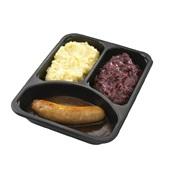 Culivers (42) verse worst met jus, rode kool met appeltjes en aardappelpuree achterkant