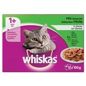 Whiskas 1+ adult kattenvoer vlees en vis selectie in gelei  voorkant