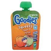 Organix goodies squeezy fruithapje appel en perzik voorkant