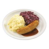 Culivers (111) verse worst met jus, rode kool met appeltjes en aardappelpuree Zoutarm voorkant