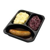 Culivers (111) verse worst met jus, rode kool met appeltjes en aardappelpuree Zoutarm achterkant