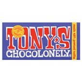 Tony's chocolonely donkere melk pretzel toffee voorkant