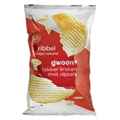 Gwoon ribbelchips naturel voorkant
