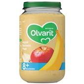 Olvarit baby/peuter fruithapje appel, banaan en peer voorkant