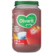 Olvarit baby/peuter fruithapje appel, yoghurt en bosbes voorkant