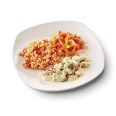 Culivers (66) roerbakstukjes in pestosaus, Toscaanse groentemix en griekse rijst voorkant