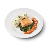 Culivers (125) gebakken zalmfilet met Normandische saus, bladspinazie en aardappelpuree met bieslook zoutarm voorkant