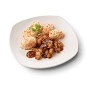 Culivers (69) gegrilde vegastukjes in uiensaus met hutspot voorkant