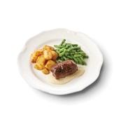 Culivers (83) rundervink met mosterdsaus, sperziebonen en gebakken aardappelblokjes zoutarm voorkant