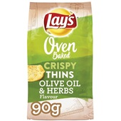 Lay's Oven Chips Crunchy Thins Olive Oil & Herbs voorkant