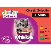 Whiskas kattenvoer junior classic in saus voorkant