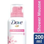 Dove doucheschuim mousse with rose oil achterkant