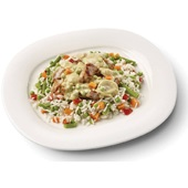 Culivers boeren kippenragout met witte rijst-groenteschotel  voorkant