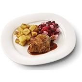Culivers (29) kipkarbonade met kippenjus, rode bietjes met zilveruitjes en gebakken aardappeltjes voorkant
