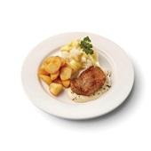 Culivers (43) hamlapje in pepersaus met  gebakken roty aardappelen en bloemkool met bechamel-kerrie voorkant