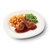 Culivers (98) drumsticks in kippenjus met sperziebonen en gebakken aardappeltjes voorkant