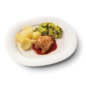 Culivers (103) kippendijrolletje met kippenjus, gestoofde prei en gekookte aardappelen voorkant