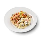 Culivers (94) zalm en kabeljauw in mosterdsaus met groentemix en volkoren spaghetti voorkant