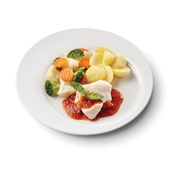 Culivers (120) kabeljauwfilet in rode pestosaus met broccolimix en gekookte aardappelen voorkant