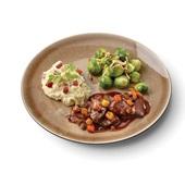 Culivers (76) hazenpeper, spruitjes met amandel en aardappelpuree met spekjes zoutarm voorkant