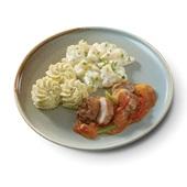 Culivers (77) gebakken kippendijrolletje in stroganoffsaus met asperges à la crème en aardappelpuree met truffeltapenade voorkant