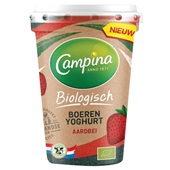 Campina bio yoghurt aardbei voorkant