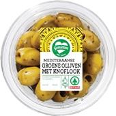 Spar tapas groene knoflook olijven voorkant