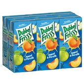 DubbelFrisss vruchtendrank appel perzik 6-pack voorkant