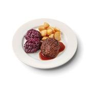 Culivers (86) gehaktballen in jus, rode kool met appeltjes en gebakken roty aardappelen zoutarm voorkant