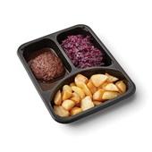 Culivers (86) gehaktballen in jus, rode kool met appeltjes en gebakken roty aardappelen zoutarm achterkant