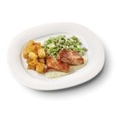 Culivers (85) kalkoenbiefstukjes in dragonsaus met gebakken aardappeltjes en tuinbonen met ui en tijm zoutarm voorkant