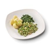 Culivers (132) kapucijners met amandel en dragon, bladspinazie en gekookte aardappelen zoutarm voorkant
