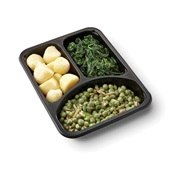 Culivers (132) kapucijners met amandel en dragon, bladspinazie en gekookte aardappelen zoutarm achterkant