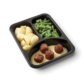 Culivers (128) vegetarische balletjes in romige mosterdsaus met sperziebonen en gekookte aardappelen zoutarm achterkant