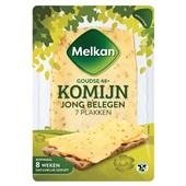 Melkan plakken kaas jong belegen komijn voorkant