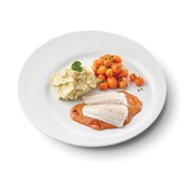 Culivers (123) pangafilet in provencaalse saus, parijse worteltjes en aardappelpuree zoutarm voorkant