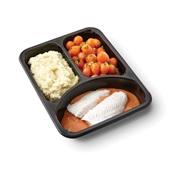 Culivers (123) pangafilet in provencaalse saus, parijse worteltjes en aardappelpuree zoutarm achterkant