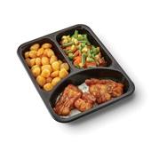 Culivers (121) kibbeling met ravigottesaus, Mexicaanse groenten en gebakken krieltjes zoutarm achterkant