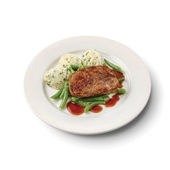 Culivers (45) varkenslapje met jus, sperziebonen en aardappelpuree met tuinkruiden voorkant