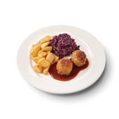 Culivers (47) gehaktbal in jus, rodekool met appeltjes en gebakken roty aardappelen voorkant