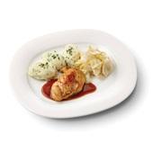 Culivers (23) kipfilet met kippenjus, gestoofde witlof naturel en aardappelpuree met tuinkruiden voorkant