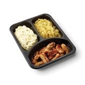 Culivers (74) gegrilde vegastukjes in vegetarische jus, gesmoorde zuurkool en aardappelpuree achterkant